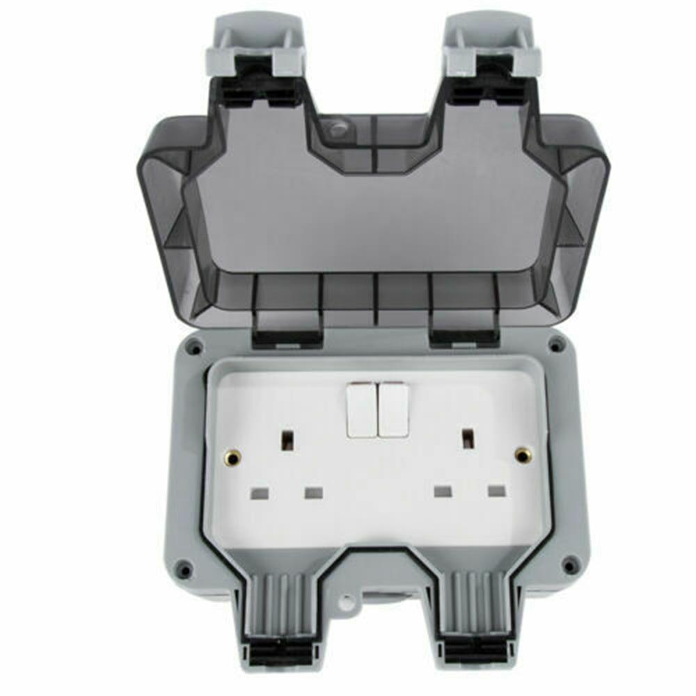 Resistente a la intemperie al aire libre 13A 2 Gang doble interruptor IP66 fuera del Reino Unido