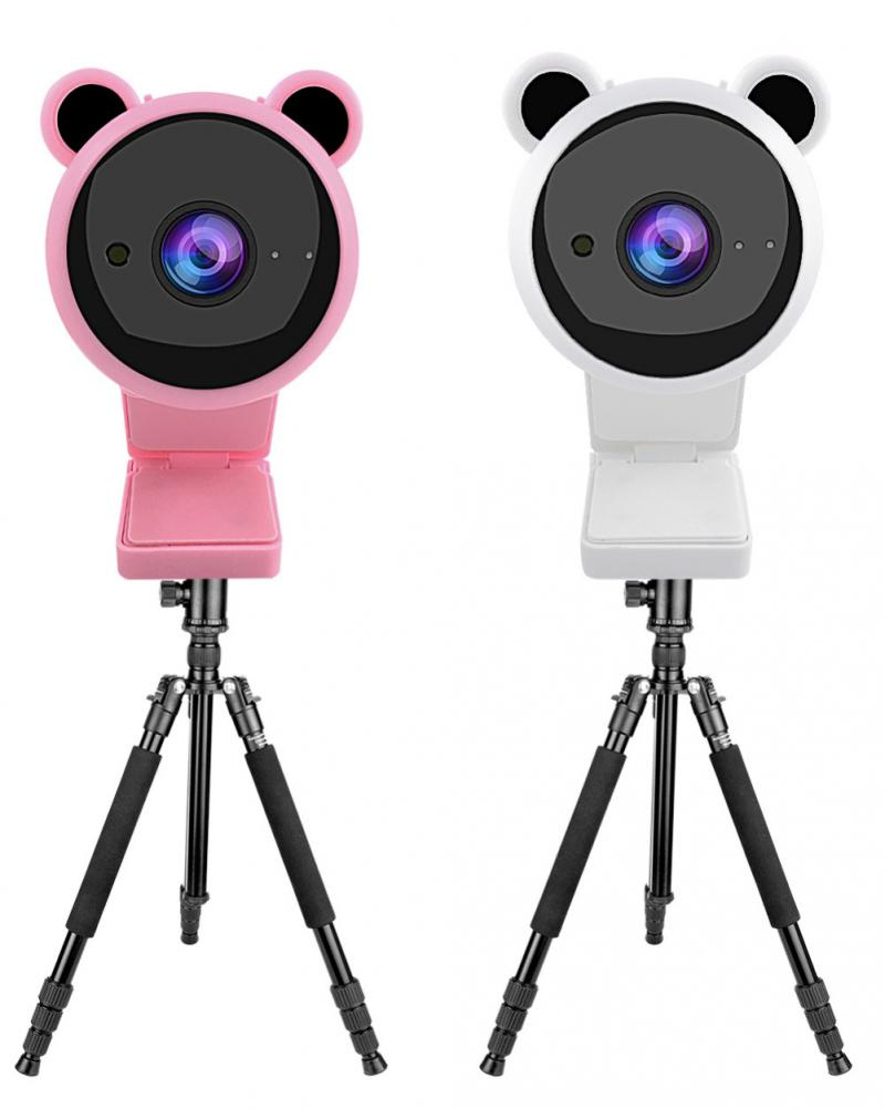 Camara para Videoconferência Novo Panda Bonito hd Webcam Câmera Web Embutido Microfone Foco Automático Completo 2021 1080p