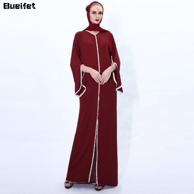 فستان حجاب مسلم ، قفطان ، ملابس إسلامية ، عباية ، دبي ، تركيا ، عربي ، ياقة على شكل v ، عيد مبارك ، طويل