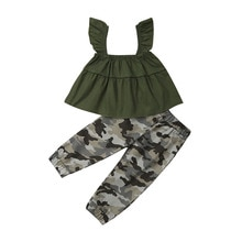 Ensemble de vêtements camouflage 1-6T pour petites filles   Ensemble de vêtements pour petites filles, débardeur pour petites filles, pantalons courts et Leggings 2 pièces, ensembles de vêtements