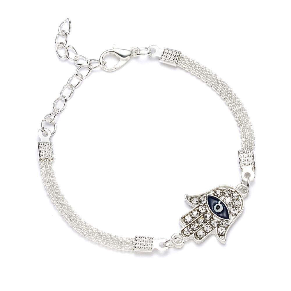 Moda prata cor zircônia pulseira de cristal turco mau olho pulseira palma azul mau olho cobra corrente pulseira sorte jóias