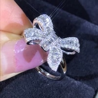 romantic luxury crystal jewelry bowknot rings with cubic zirconia stainless steel wedding ring for women valentines day gifts