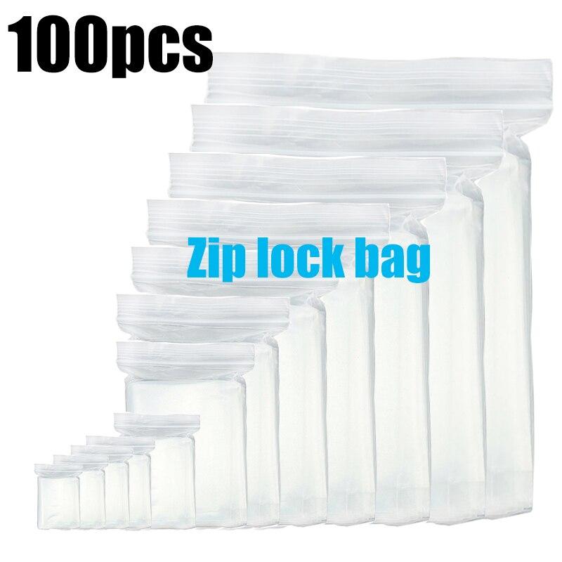 Unids/lote de 100, cierre de cremallera grueso, transparente, resistente, regalo de joyería, bolsa de almacenamiento de paquetes, bolsa de plástico resellable de poliéster, espesor de bolsa de 0,12mm