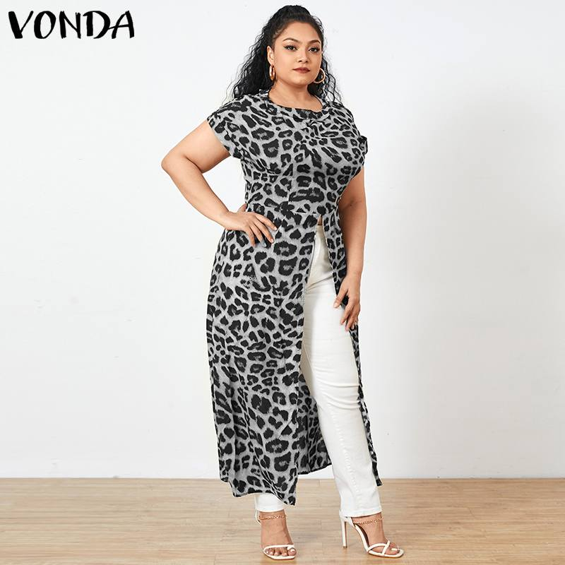 VONDA 2021 Summer Women Asymmetric Shirts Sexy Split Hem Short Sleeve Vintage Leopard Printed Tops Bohemian Blusas Plus Size