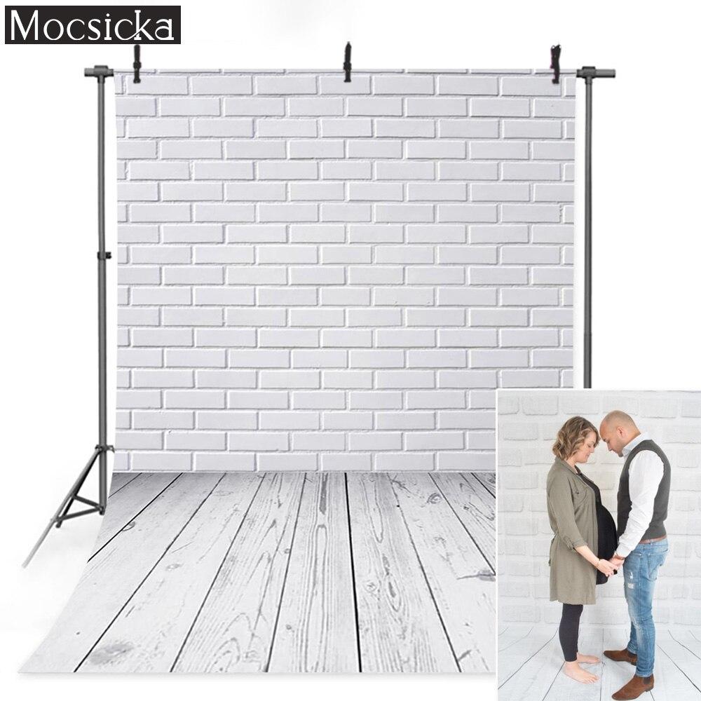 De ladrillo blanco fotografía de pared Fondo piso de madera Fondo cumpleaños...