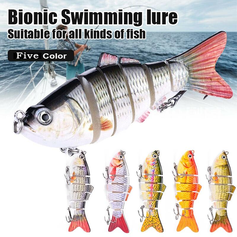 5pcs Luya Baits Bionic Swimming Lure Bionic Bait 6 Section Sea Fishing Hard Bait Simulation Bait Set Outdoor Fishing Lures