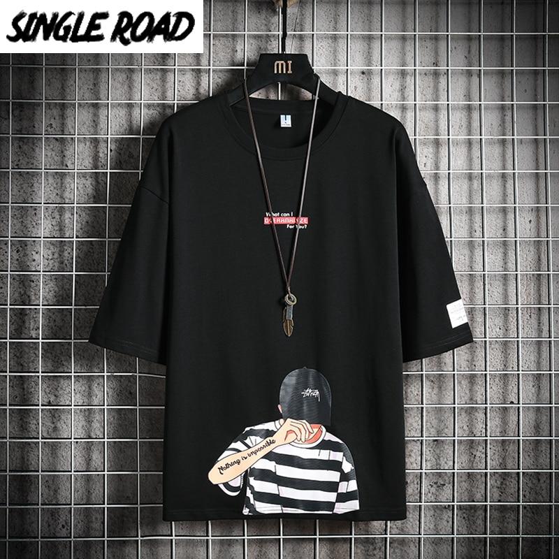 Camiseta para hombre SingleRoad 2020, Camiseta holgada negra de Anime para verano de parte de arriba de estilo Hip Hop, ropa informal japonesa, camiseta Harajuku para hombre
