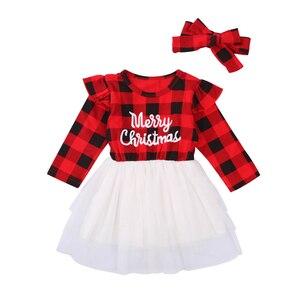 CANIS 2pcs Little Girl's Christmas Themed Dress Suit Letter Print Plaid Long Sleeve Yarn Dress Elastic Waist Skirt + Hairband