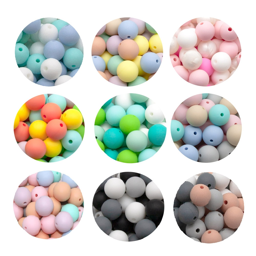 Nette-Idee 10PCs 9/12/15mm Silikon Perlen bunte Baby Beißring Personalisierte DIY Kleinkind Spielzeug baby Produkt Schnuller Kette