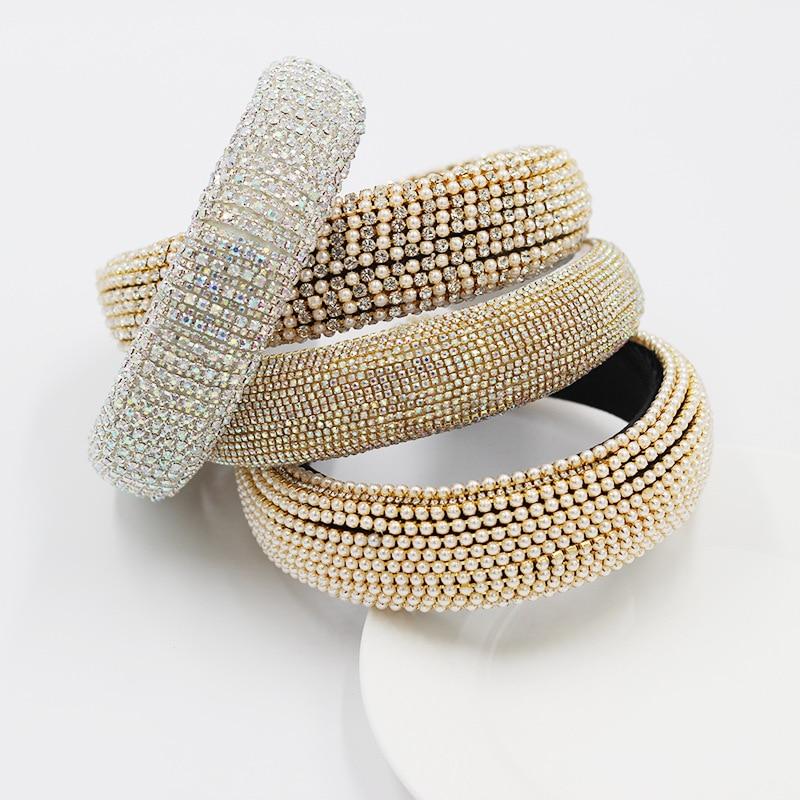 Nuevas diademas de diamantes de imitación brillantes, diadema dorada con relleno de diamantes geométricos y cristales para mujer, accesorios capilares de lujo