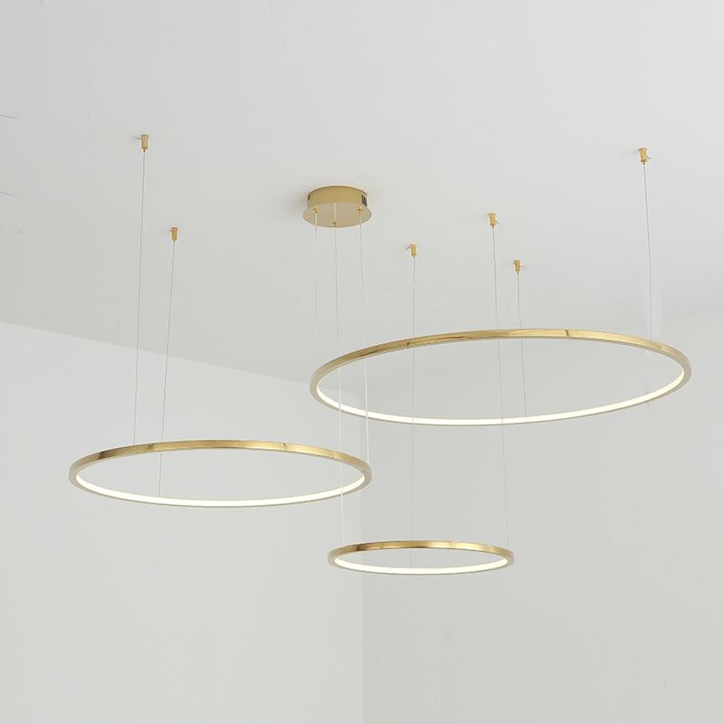 TRAZOS Modern led Gold pendent  lights circle for Interior design engineering lighting Line hang LED ring lamp