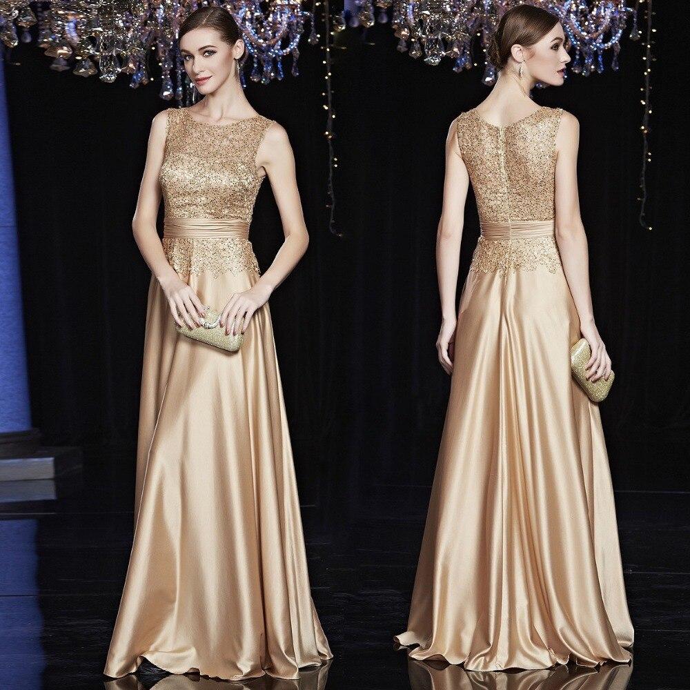 2020 Champagne Gold Lace Madre de la novia vestidos A-line vestidos de noche satín invitados de fiesta de bodas vestido largo para las mujeres