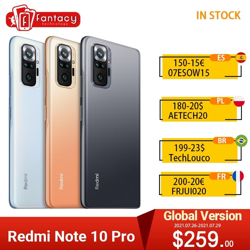 Глобальная версия Xiaomi Redmi Примечание 10 Pro Snapdragon 732G Smartphone108MP Quad камера 120 Гц 6,67 дюйм AMOLED DotDisplay NFC для мобильного телефона