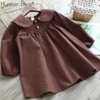 humor bear fashion kids clothes girl plaid doll collar long sleeve dress children princess dresses baby girls clothing outfits