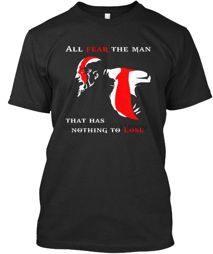 Футболка с круглым вырезом и надписью «God Of War Game Kratos Deimos Atreus-All Fear The Man That Premium»