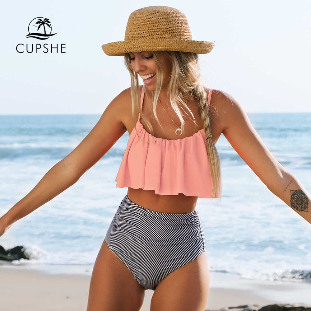 Pink and Stripe High Waisted Bikini Sets Sexy Tank Top Swimsuit Two Pieces Swimwear Women 2021 New Beach Bathing Suits