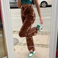 2021 tie dye print y2k baggy jeans joggers women streetwear vintage aesthetic straight denim pants high waist mom jeans
