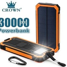 solar 30000mah Power Bank External Battery charge Dual USB Powerbank Portable phone Charger for iPho