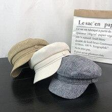 Helisopus 2020 koreański płaski czapka kobiety jesienno-zimowa moda ośmiokątna czapka solidna kolorowa bawełniana lniana czapka wojskowa czapki studenckie