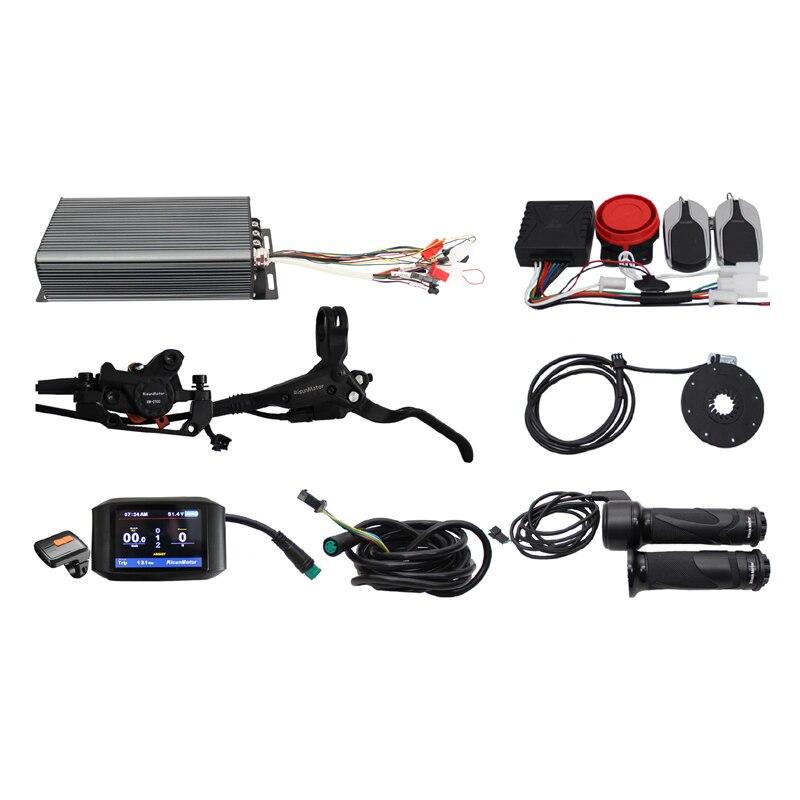 48V 60V 72V 100A 3000-5000W  Regenerative Programmable Controller Ebike DIY Kit With Alarm System+750C Display+PAS+Brakes