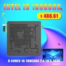 Top vente 10th Gen Nuc Intel i9 10980HK 10880H i7 10750H Mini PC 2 Lans Win10 2 * DDR4 2 * NVME ordinateur de bureau de jeu 4K DP HDMI2.0