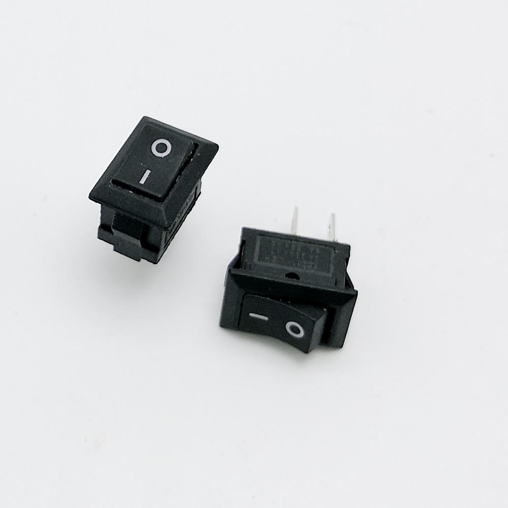 10 unids/lote interruptor de barco negro de 2 pines interruptor de alimentación de cobre pies 14.5X10mm 3A/250V KCD1-11 interruptor de encendido/apagado