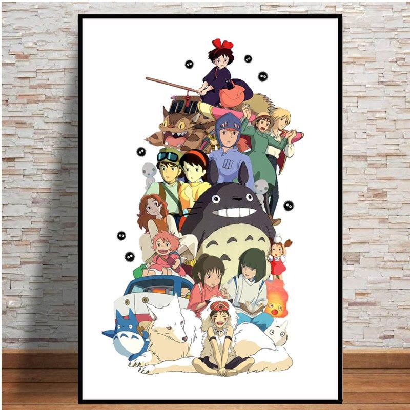 Bild poster studio Ghibli zahlt tribut zu bilder von Japanischen moving cartoon malerei kunst leinwand wand für wohnkultur