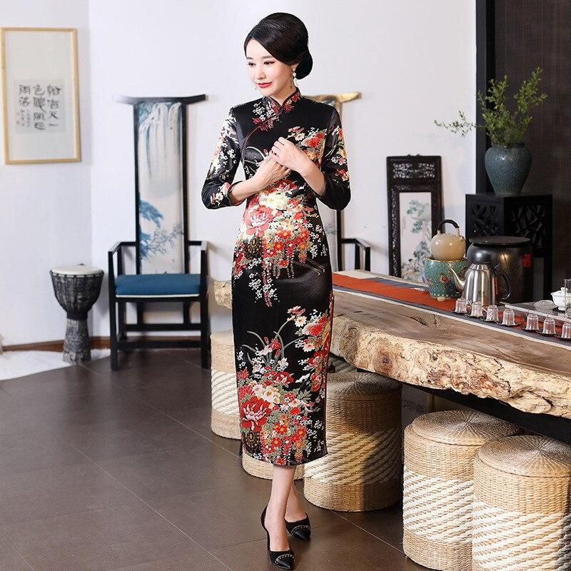 Sexy manga larga Qipao mujeres satén Cheongsam vestido elegante estilo chino clásico Casual Vestidos mandarín cuello delgado Vestidos