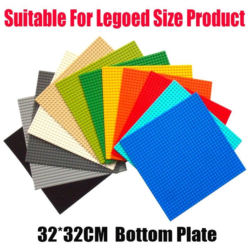 1 plato de 10 colores placas Base clásicas placas de ladrillos de plástico dimensiones adecuadas pegatinas bloques de construcción Juguetes