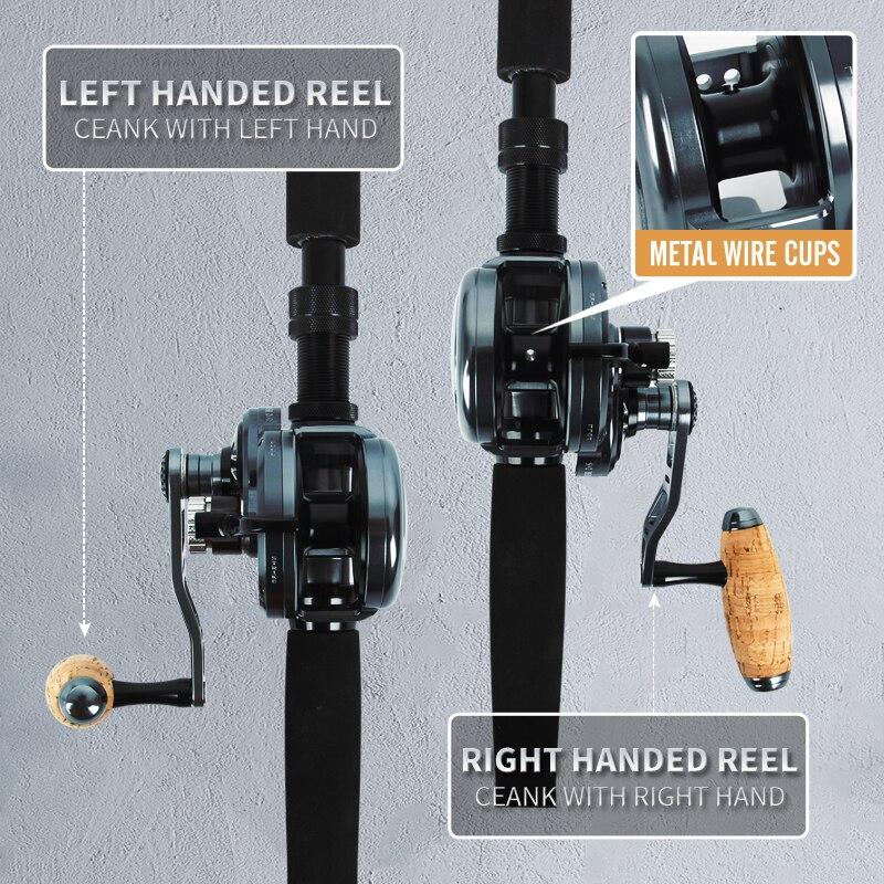 Fishing Light Jigging Reel 30KG Drag Saltwater Fishing Reel All Metal Wheel 6.3:1 Gear Ratio Wooden T-bar Handle Trolling Coil enlarge