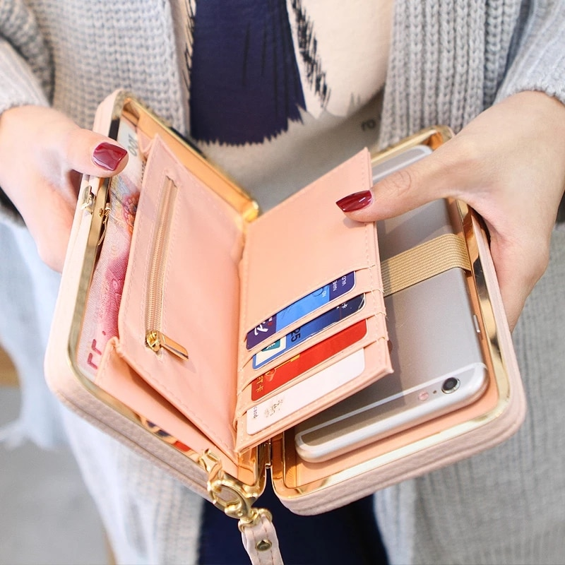 Wallet Female Women's Wallet Snap Coin Purse Phone Bag Bow Multi-card Bit Card Holder Purse Women Lu