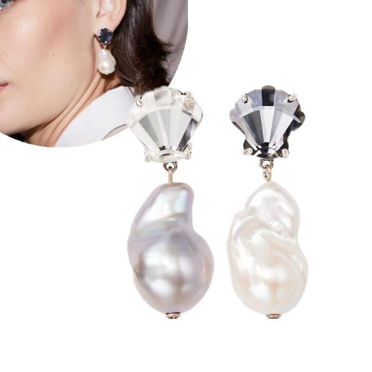 Adorno europeo y estadounidense Perla Barroca Irregular de agua dulce pendientes tipo botón de oreja para mujer