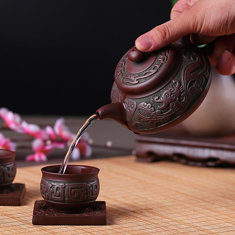 Yixing фиолетовый песочный чайный набор Ретро Бронзовый плоский горшок Рудный чайный горшок керамический большой чайный горшок Kungfu Bubble чайны...