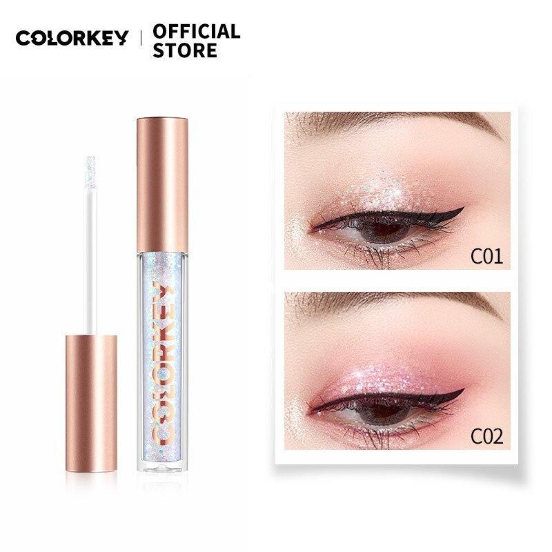 Colorkey 3 Colors Glitter Liquid Eyeshadow Pigment Glow Eye Shadow Cream Smudge-proof Nude Make Up B