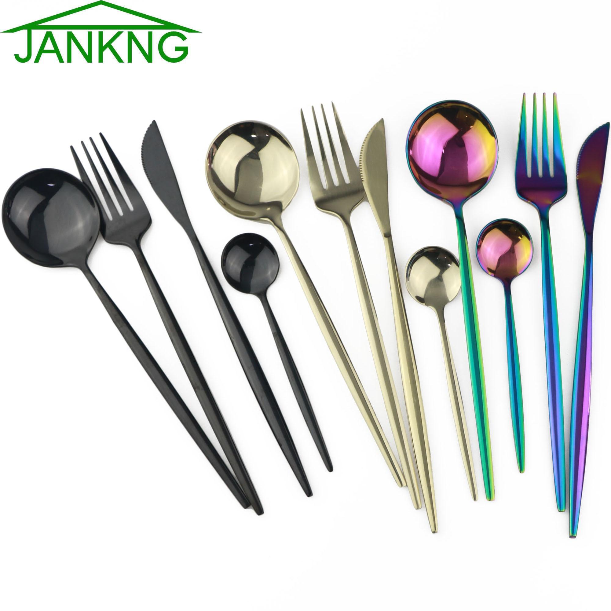 4Pcs Black Gold Dinnerware Set Rainbow Cutlery Knife Fork Spoon Flatware Set 304 Stainless Steel Silverware Tableware Dinner Set