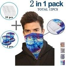 2pc multi-purpose unissex ao ar livre bandanas proteção uv pescoço gaiter segurança com 10pc substituição filtros de poeira protetora # lr4