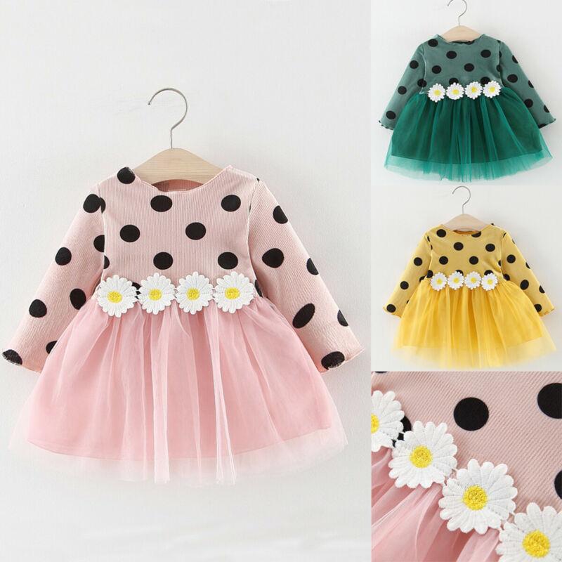 0-3years Newborn Baby Girls Long Sleeve Dress Polka Dot Party Pageant Tutu Dress For Girls Pink Blue Wedding Dress Girl Clothing