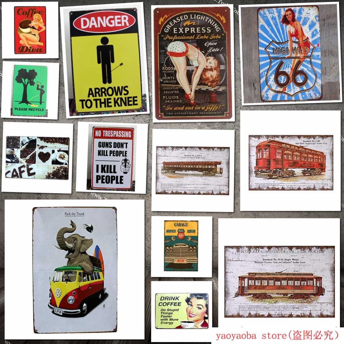 Peligro Arrous Tothe Knee Vintage Metal signo signos para cochera para hombres hogar Decoración estaño arte decoración señal de advertencia