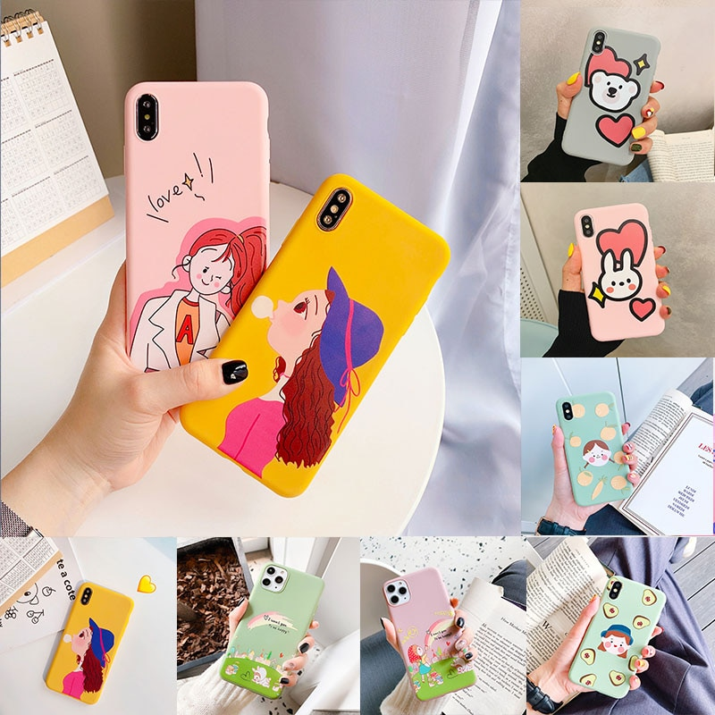 Iphone 11 pro caso matte dos desenhos animados menina frutas caso do telefone para o iphone xr x xs max 8 7pluse 6s 6 abacate caso macio tpu capa traseira
