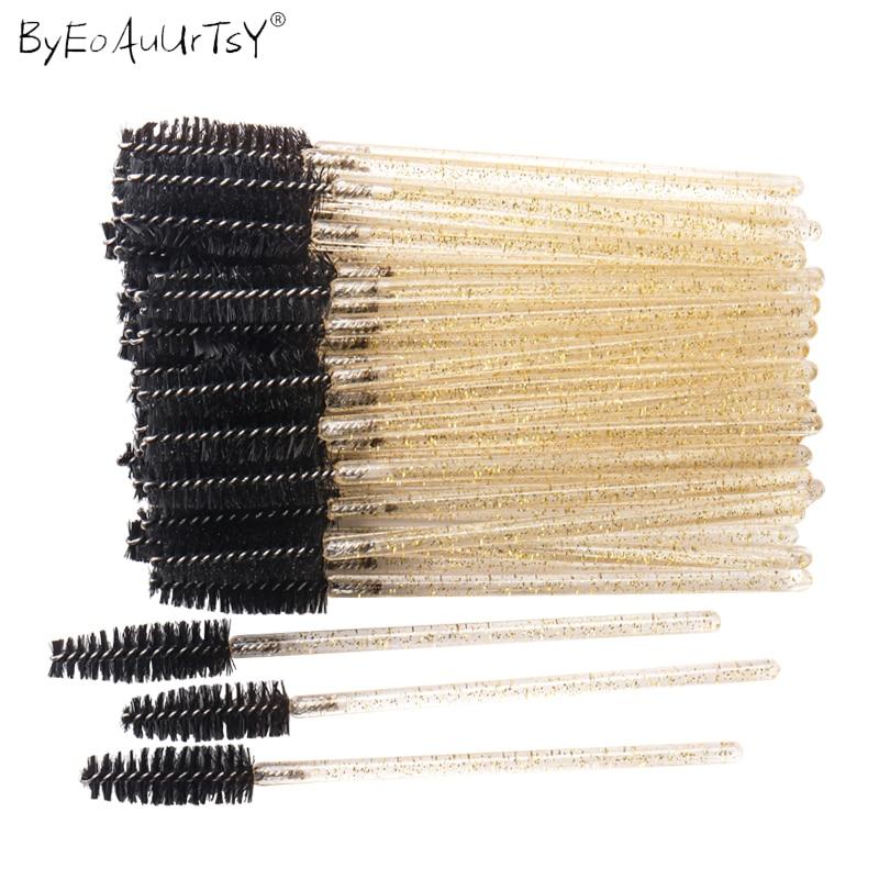 50pcs Shiny Disposable Eyelash Brush Applicator Wands Curler Mascara Eyebrow Makeup Tools Spoolers C