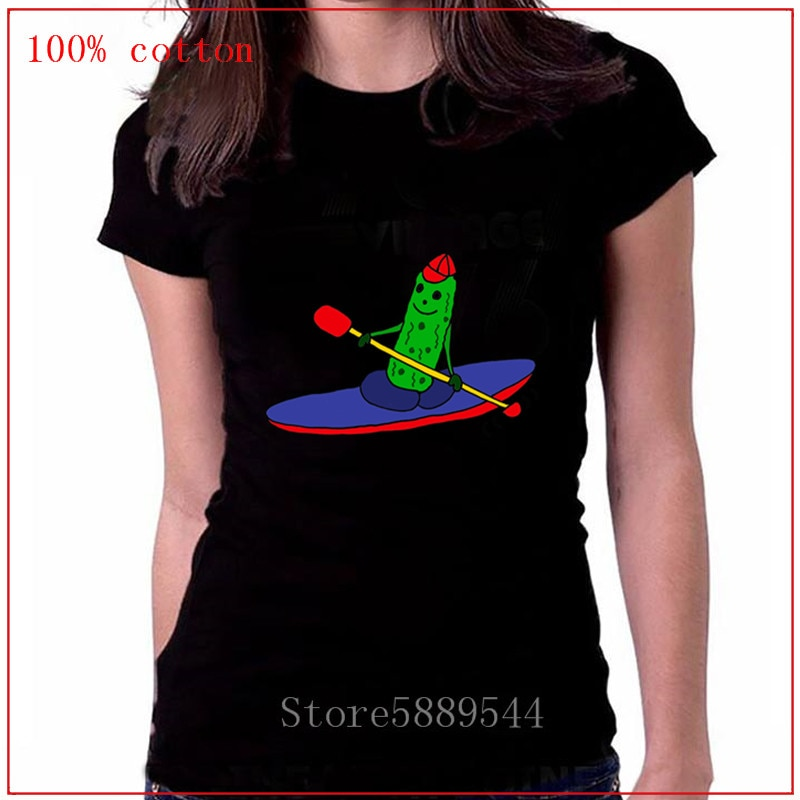 Camiseta cómica para mujeres jóvenes Cool divertido Kayaking pepinillo de dibujos animados de manga corta Camiseta cuello redondo Kayaking pepinillo Geek mujeres