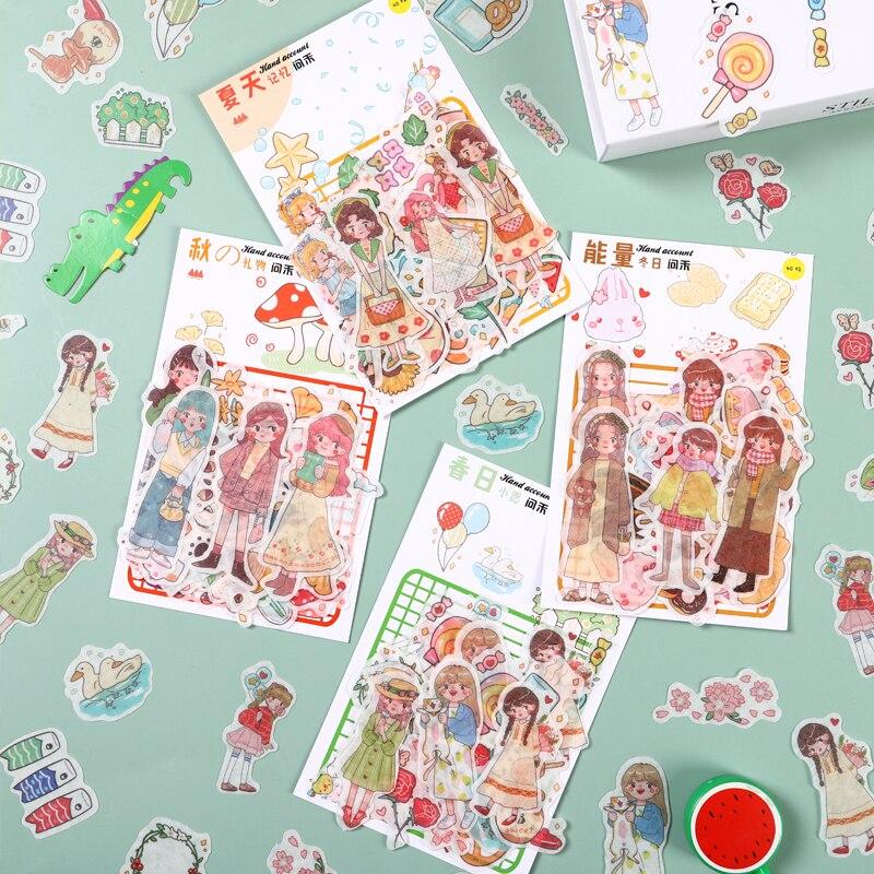 8pakcs/lote quatro estações menina série criativo desaceleração diy peper adesivo masking washi adesivo