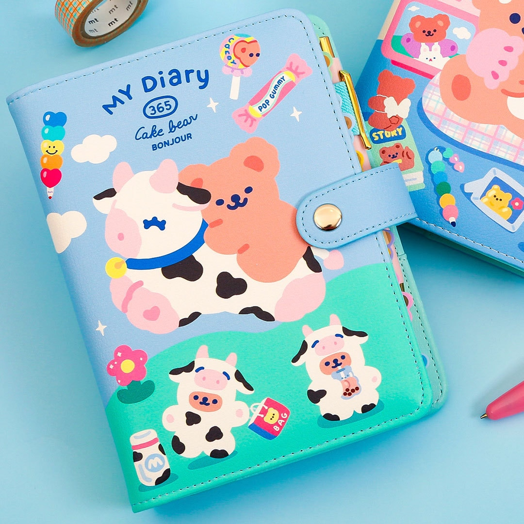 Cute A6 Binder Notebooks and Journals Spiral Diary Bear Notepad 6 Rings Planner Traveler Kawaii Note Book Girls Daily Sketchbook