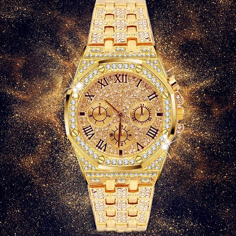 Men Watches Luxury Hiphop Punk Iced Out Watch Gold Diamond Rhinestone Watch for Men Wristwatch Relogio Masculino Reloj Hombre watch for women top brand luxury iced out watch diamond watch for men iced out cuban link chain necklace wristwatch man hiphop