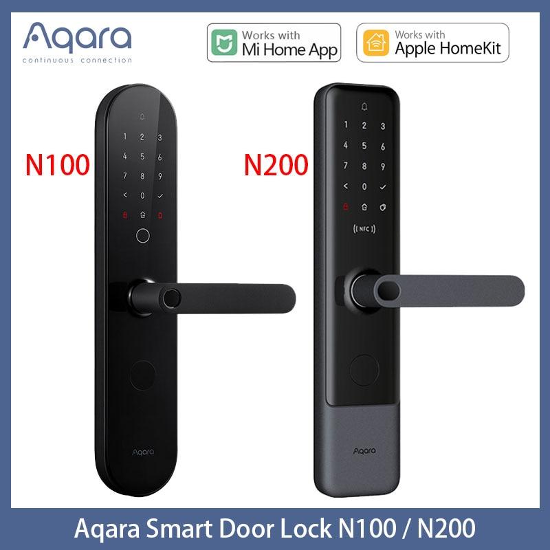 Aqara N100 & N200 قفل باب ذكي بلوتوث بصمة إصبع رقمية قفل ، كلمة المرور ، بطاقة NFC ، التطبيق عن بعد ل Homekit و Mi Home APP