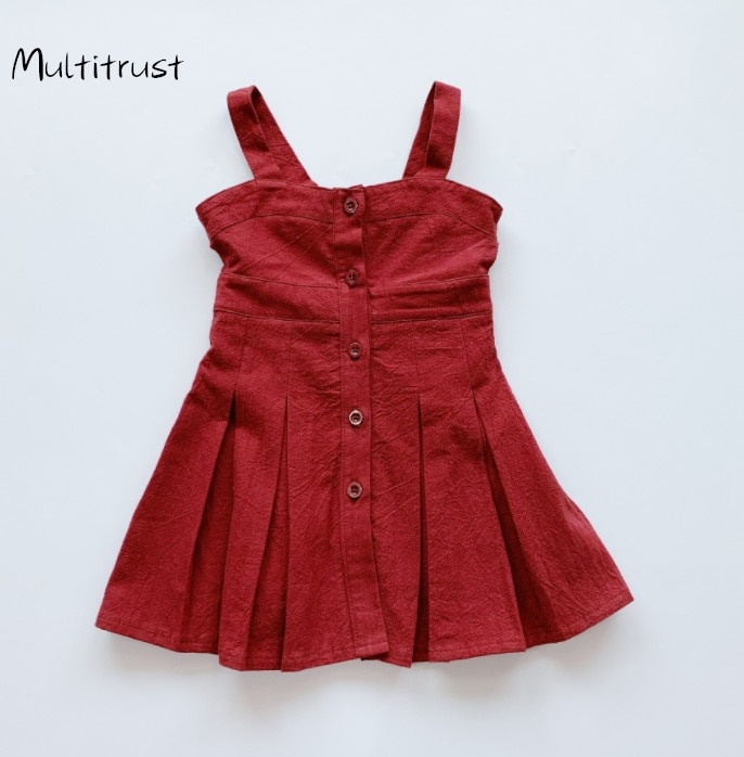 Платье на бретельках для маленьких девочек; Летнее модное платье принцессы без рукавов на пуговицах; Однотонное платье