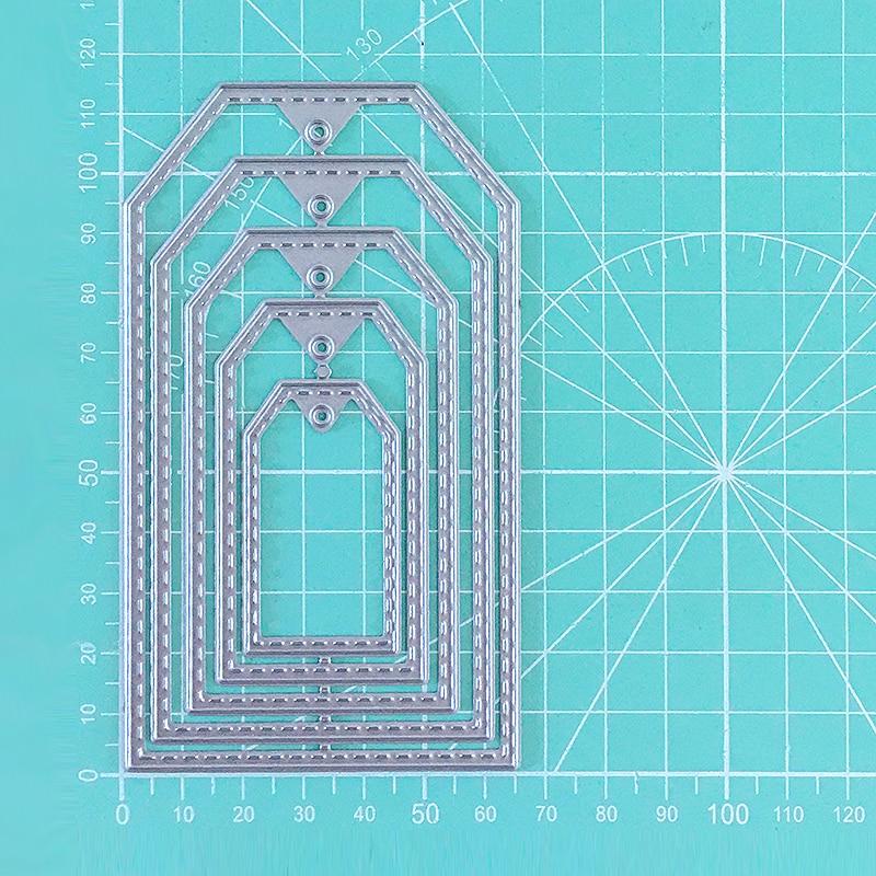 Etiqueta en forma de marco de Metal de corte de plantillas de Marco Scrapbooking tarjetas de papel de grabado manualidad álbum de fotos plantillas de matrices