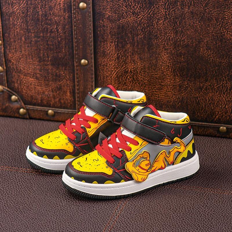 Outono das crianças tênis casuais meninos botas de couro do plutônio tornozelo botas naruto gaara plana tênis meninos apoio criança crianças sapatos
