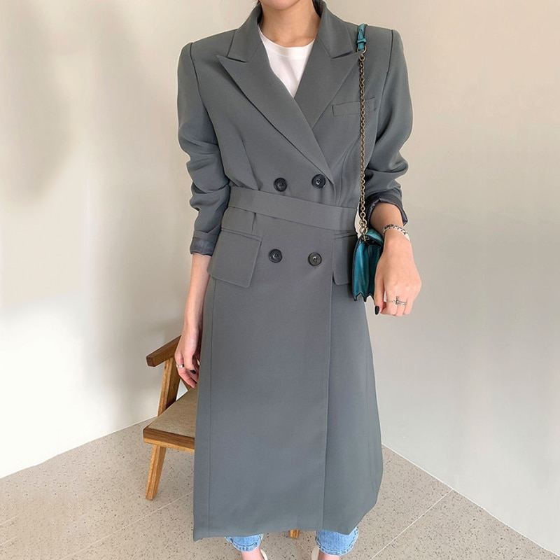 Korean Chic Windbreaker Coat Autumn French Elegant Lapel Double Row Buckle Lace Up Waist Over Knee M
