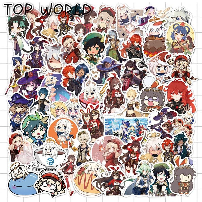 10/50pcs/set Genshin Impact Cartoon Open World Game Stickers For Laptop Motorcycle Skateboard Car Tr